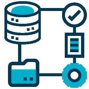 Ilustração de um banco de dados conectado a diversos itens como um check positivo, arquivo digital, engrenagem de configuração e pasta de arquivos