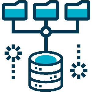 Ilustração com três pastas de arquivos conectadas ao um banco de dados abaixo e linhas pontilhada simbolizando a transição dos arquivos