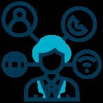 Ilustração, homem no centro com ícones de ferramentas como wi-fi, contato, telefone e globo terrestre interligadas a sua cabeça