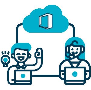 Ilustração, amigos de trabalho com notebook aberto, sendo um homem e uma mulher compartilhando ideias e tarefas via internet com tecnologias da Microsoft.